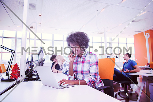 young smiling African American informal businesswoman working in the office with colleagues in the background