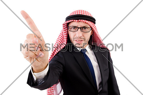 Angry arab man in specs isolated on white