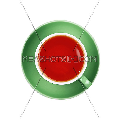 Full cup of black tea on green saucer isolated on white background, close up, elevated top view