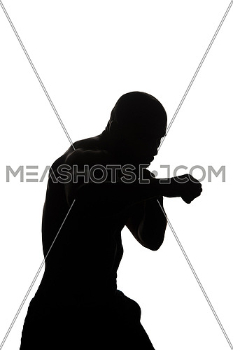 Silhouette Muscular Boxer MMA Fighter Practice His Skills - Isolated On White Background