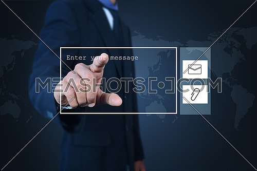 Businessman pressing virtual buttons in color background