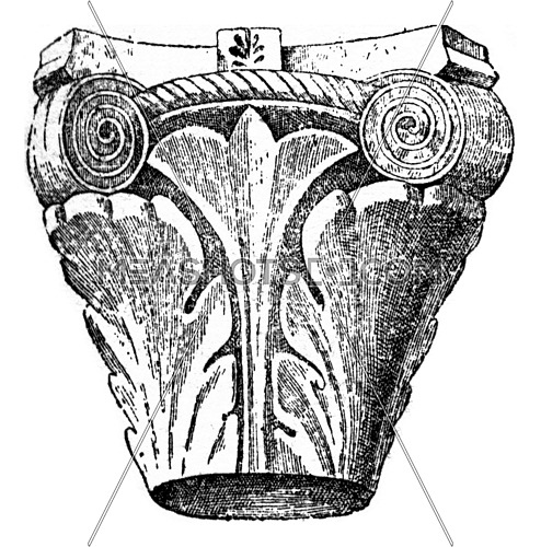 Capital Merovingian, vintage engraved illustration. Dictionary of words and things - Larive and Fleury - 1895.