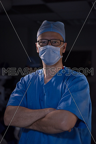 Middle eastern surgery team in the operating room at the large modern clinic