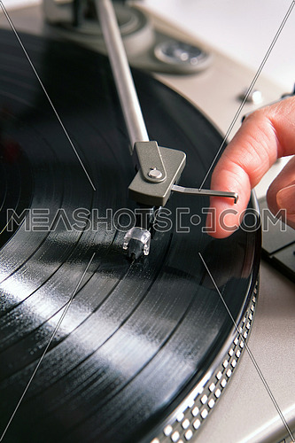 Spinning vinyl record, classic music concept
