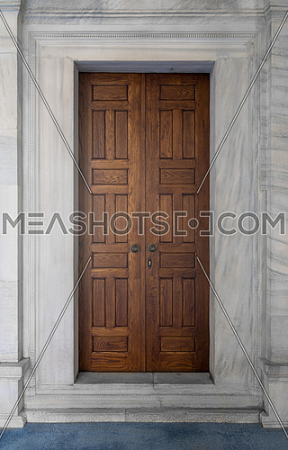 Wooden engraved door on white, marble wall, Nuruosmaniye Mosque, Istanbul, Turkey, Istanbul, Turkey