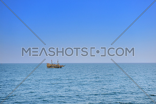 tourist pirate boat ship sail on sea ocean