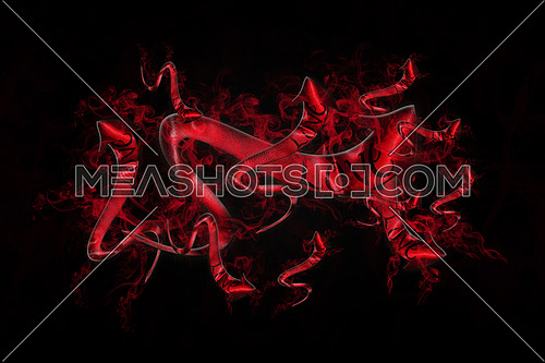 Love Concept. Arrows With Love Written On It Showing The Way On Black Background Full Of Red Smoke 3D illustration