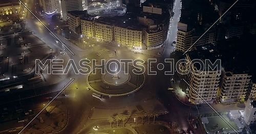 360 Drone shot for Tahrir Square showing National Flag Pole in Cairo at night