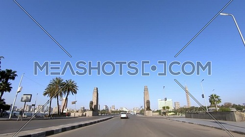 Drive-through shots at Kasr Al Nil bridge, Downtown Cairo by day
