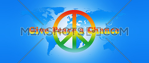 World Map Peace Text and Sign 3D illustration