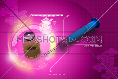 3d illustration of syringe and medicine