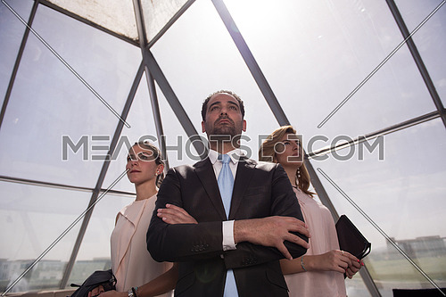 business people group  standing together as team arabian businessman in front as  leader