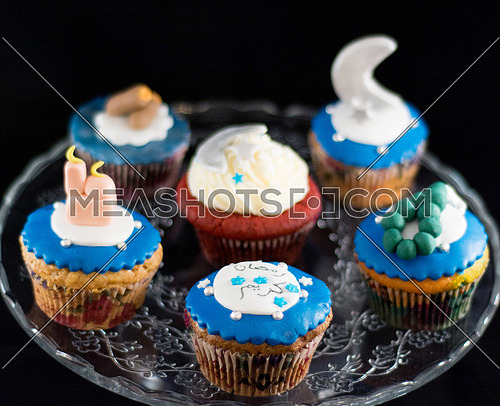 ramadan theme cupcakes collection on a black background