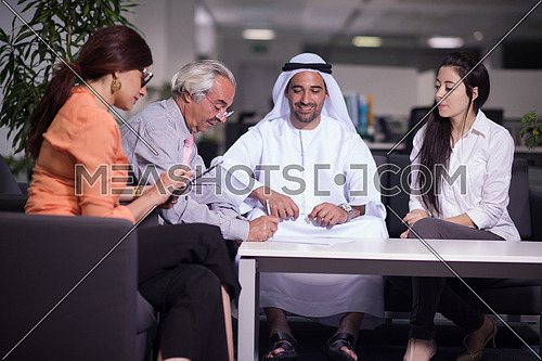 business people make agreement and  sign contract  on  meeting at modern office