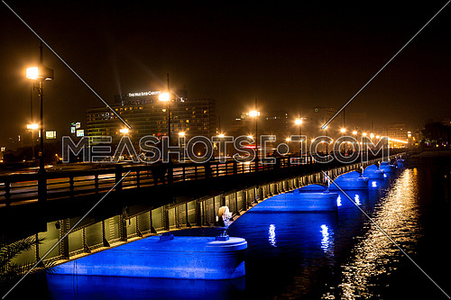 Panorama Shot for Qasr Al Nile Bridge at Night