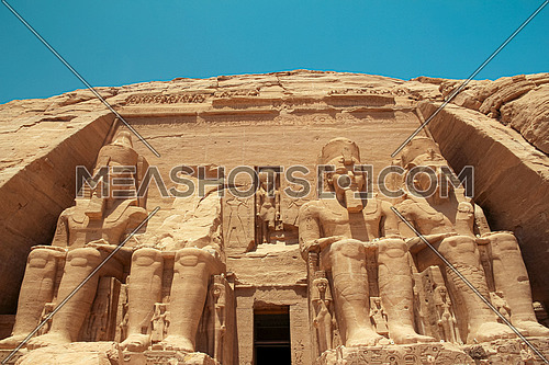 Low angel shot for Abu Simbel Temple in Aswan in Egypt at Day