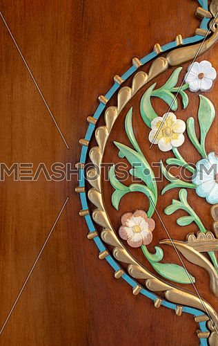 Colorful wooden floral pattern on door leaf, Historic Manial Palace of Prince Mohammed Ali Tewfik, Cairo, Egypt