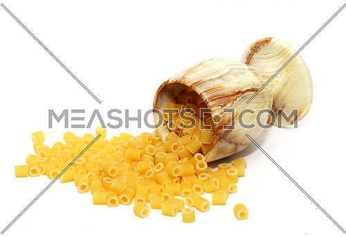 macaroni in a cup -  white background