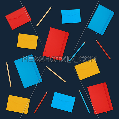 Pattern of multicolor notebooks, paper envelopes and pencils over dark blue background