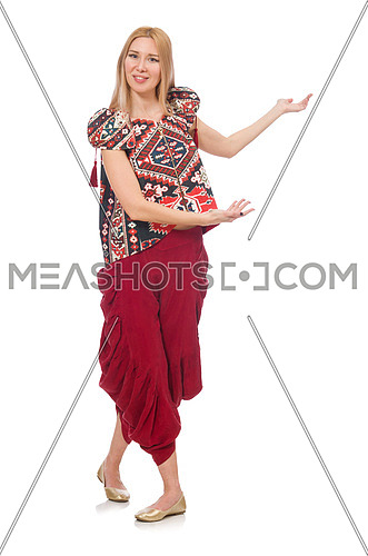 Woman in Azerbaijani ornament clothing isolated on white