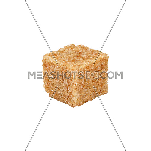 Close up one brown demerara sugar cube isolated on white background, side view