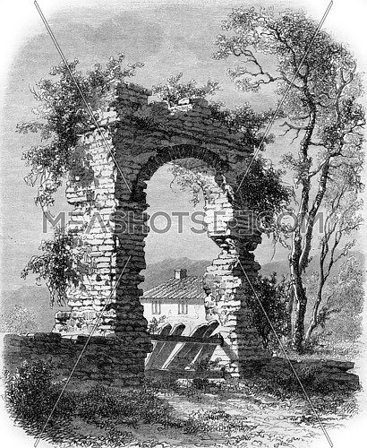 The Golden Gate, Frejus, vintage engraved illustration. Magasin Pittoresque 1857.
