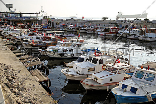 Turkish boats are parking in Üsküdar (Istanbul, Turkey).