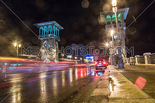 Low Angel for traffic on Stanly Bridge at Alexandria at Night