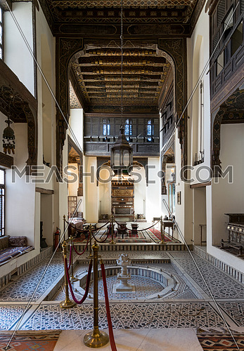 Ballroom of Gayer Anderson House, a 17th century historic house situated adjacent to the Mosque of Ahmad ibn Tulun in the Sayyida Zeinab neighborhood, Cairo, Egypt