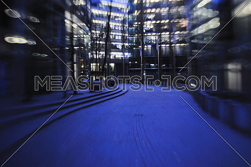 urban city building abstract light and cityscape at night