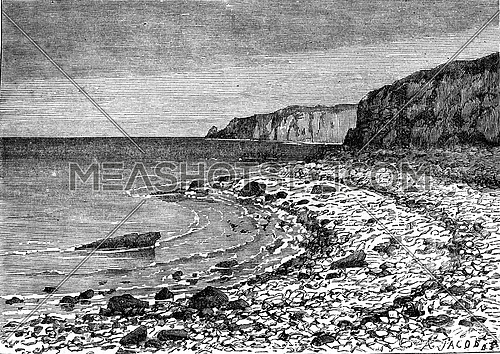 Pebble beach cords rejected by the sea Cayeux (Somme), vintage engraved illustration. Earth before man – 1886.