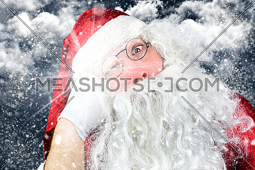 Close up of Santa Claus in the Christmas Night Punched in the Face
