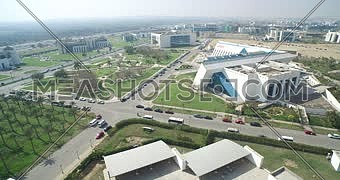 Aerial shot for the smart village at the Cairo Alexandria hight way road at day.