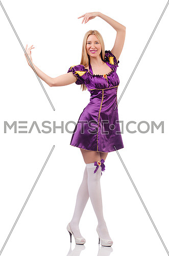 Pretty woman in purple suede dress