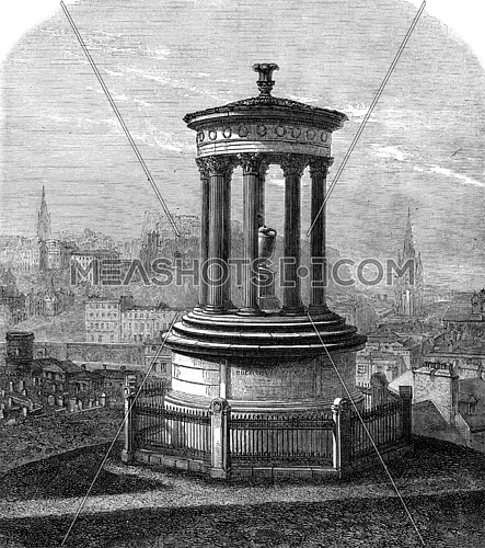 Dugald Stewart Monument Funerary, Edinburgh, vintage engraved illustration. Magasin Pittoresque 1869.