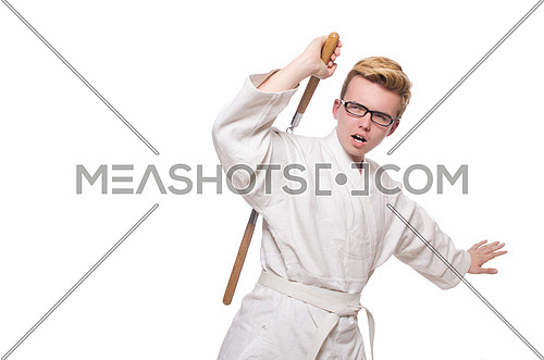 Funny karate fighter with nunchucks on white