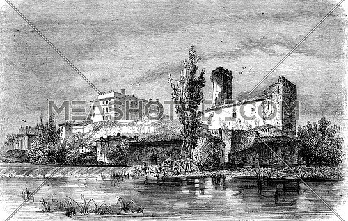 View of Bourdeille, vintage engraved illustration. Magasin Pittoresque 1852.