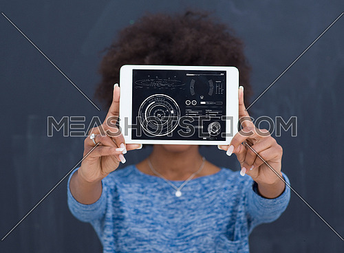Young Happy African American Woman Using Digital Tablet  Isolated on a gray background