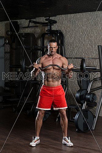 Muscular Mature Man Doing Heavy Weight Exercise For Biceps In Modern Fitness Center