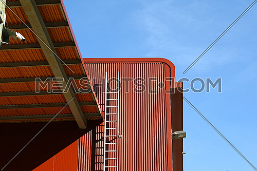 Details of aluminum facade panels on a commercial depot
