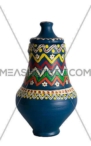 Egyptian decorated colorful pottery vessel (arabic: Kolla)