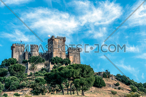 Almodovar del Rio, Crdoba, Spain - June 9, 2018: It is a fortitude of Moslem origin, it was a Roman fort and the current building has definitely origin Berber, of the year 760, Between the year 1901 and 1936 was restored by its owner, Rafael Desmaissieres y Farina, XII Count of Torralva, placed close to the Guadalquivir, take in Almodovar of the Rio,  Andalusia, Spain