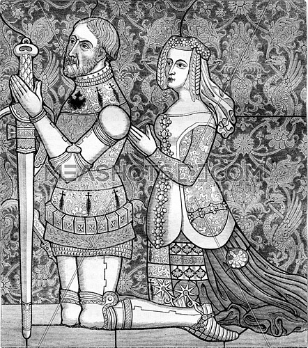 Stained Abbey Bonport representative Gilles Malet and his wife, vintage engraved illustration. Magasin Pittoresque 1861.