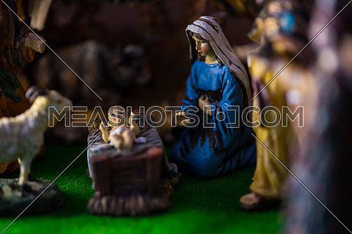 Virgin Mary with Little new born Jesus Christ and the Sheep