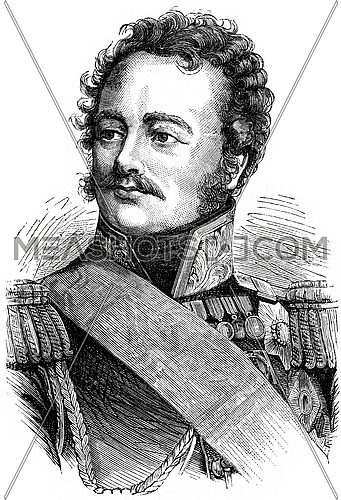 Paskiewitch, vintage engraved illustration. History of France – 1885.