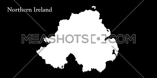 Northern Ireland White Map Isolated On Black Background 3D illustration