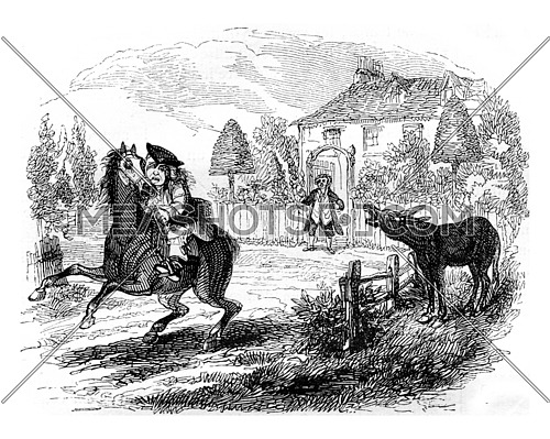 The horse neighs, leaps, and resumed its infernal gallop, vintage engraved illustration. Magasin Pittoresque 1842.