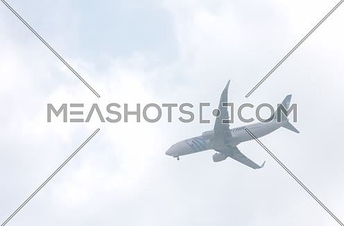 Close up Shot of Egyptair airplane during landing