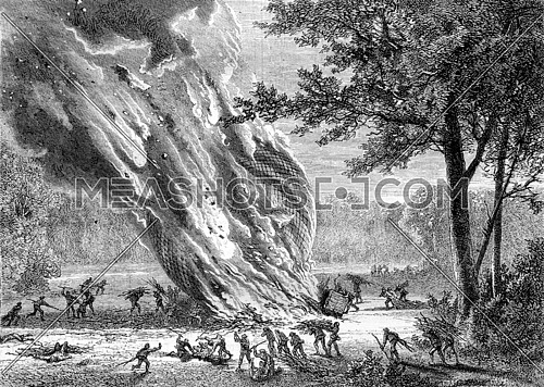 By forest fire balloon, England, vintage engraved illustration. Magasin Pittoresque 1870.