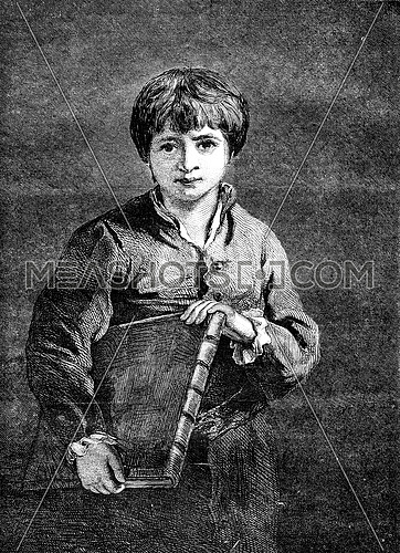 The pupil, by Reynolds, vintage engraved illustration. Magasin Pittoresque 1852.